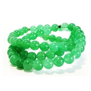 Jade beaded necklace with Sterling clasp
